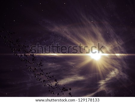 Background with the shining star in space. Elements of this image furnished by NASA
