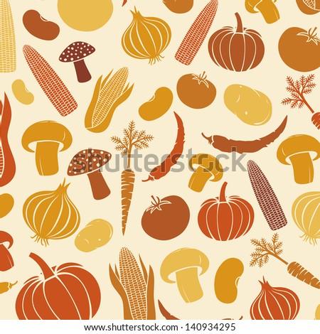 background with vegetables (vegetables background, corncob, onion, tomato, mushroom, potato, chili pepper, beans, pumpkin, carrot)