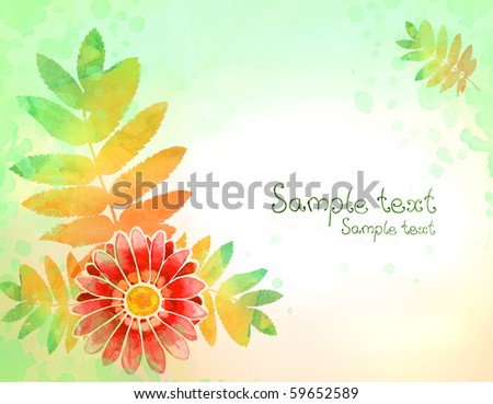 Background with watercolor flower and leaves