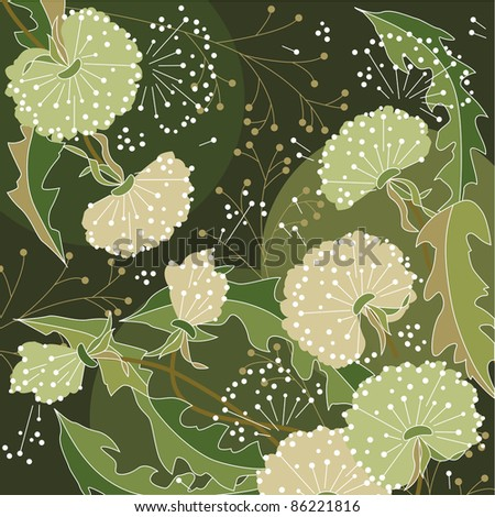 Background with white dandelions and forest plants. Raster version.