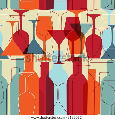 Background with wine bottles and glasses. Raster version