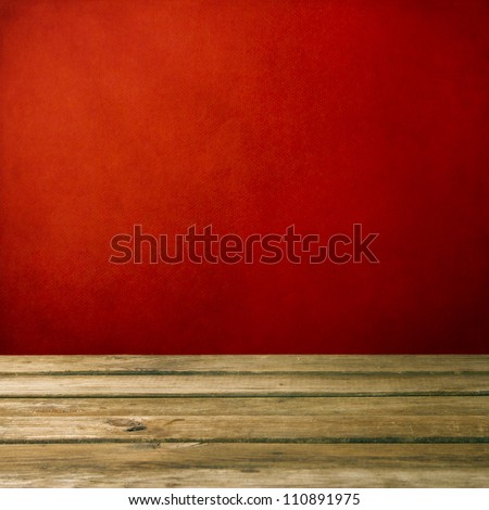 Background with wooden deck and red grunge wall