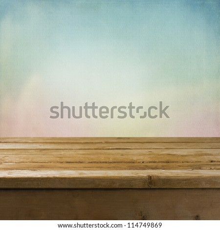 Background with wooden tabletop and dreamy texture