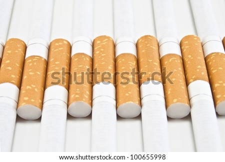 background with yellow cigarette filters