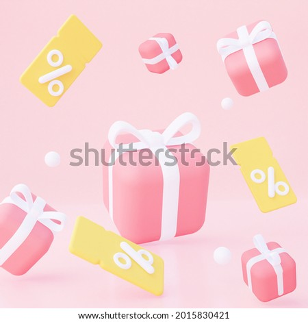 Background with yellow coupons and fly pink gifts. For promotion, marketing and advertising in social networks. 3d rendering. Square format.