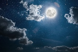 backgrounds night sky with stars and moon and clouds.