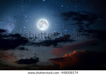 backgrounds night sky with stars and moon and clouds. wood. Elements of this image furnished by NASA #448008574