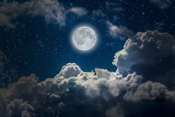 backgrounds night sky with stars, moon and clouds.. Elements of this image furnished by NASA