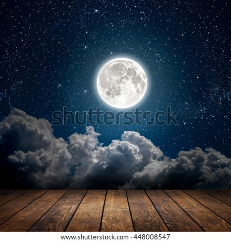 backgrounds night sky with stars, moon and clouds. wood floor. Elements of this image furnished by NASA