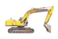 Backhoe or excavator machine isolated on white background.