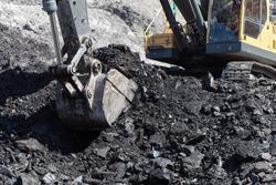 backhoe work in coalmine