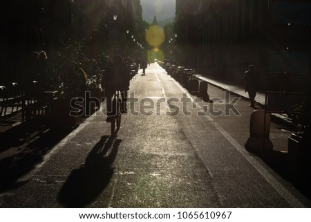 Backlight in the historic center of Palermo, Italy. #1065610967