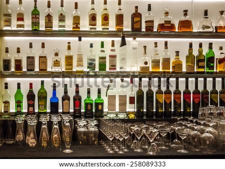 backlit bottles and glassware...