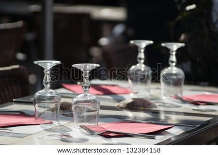 Backlit table set of a french restaurant