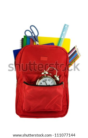 Backpack and School Stationery Isolated on White