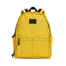 Backpack Isolated on White Background. Yellow Travel Daypack with Zippered Compartment. Satchel Rucksack. Canvas School Backpack. Bag Front View with Shoulder Straps