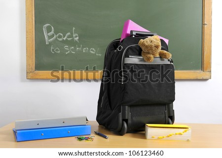 backpack, ring binder and chalkboard