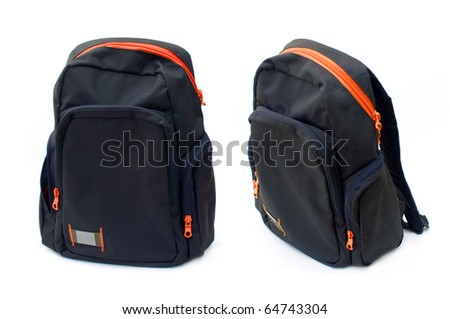 Backpack with red zipper, image is taken over a white background