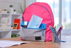 Backpack with school supplies and sanitizer and medical protective mask.Back to school and kindergarten after coronavirus. the beginning of the school season.Virus and disease prevention for kids.