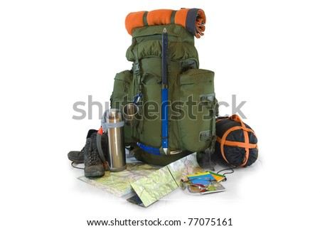 Backpack with tourist equipment - isolated on white