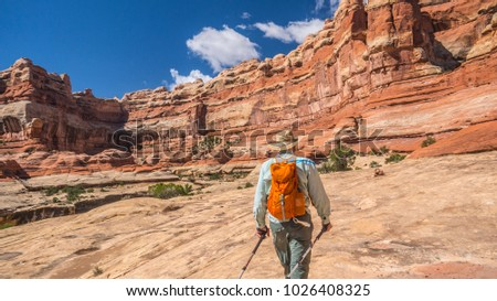 Backpacker hiker man treks along rim of canyon cliff in canyonlands national park adventure southwest hiking backpacking strong strength vacation rugged southwest desert geology scenic landscape photo