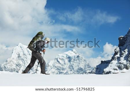 Backpacker in Himalaya mountain - stock photo