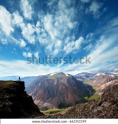 Backpacker in Himalaya mountain