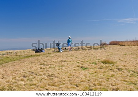 Backpacker taking a break on Gregory Bald in the Smoky Mountains - stock photo