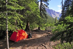 Backpacking: Camping with Tent in the Mountains