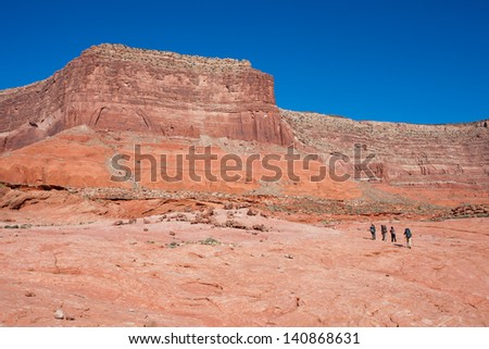 Backpacking in Grand Staircase-escalante  National Monument, Utah - stock photo