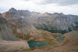 Backpacking in Mount Sneffels Wilderness around Blue Lakes in the San Juan Mountains of the Colorado Rockies