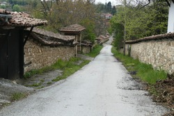 Backroads and stone walls in the small village of Arbanasi, Bulgaria