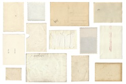 Backside from vintage Photo Paper Sheets isolated on white background