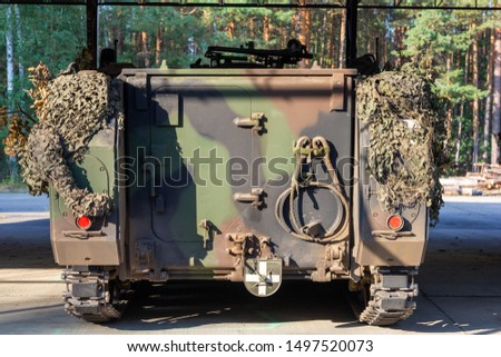 Backside of a fully tracked armored personnel carrier, APC from german army
