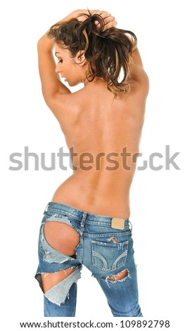 Backside of a sexy girl in torn blue jeans