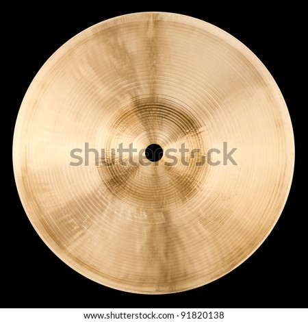 Backside of small cymbal isolated on black