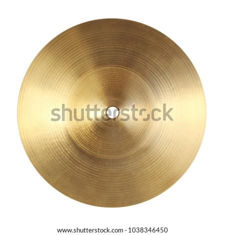 Backside of splash cymbal isolated on white background