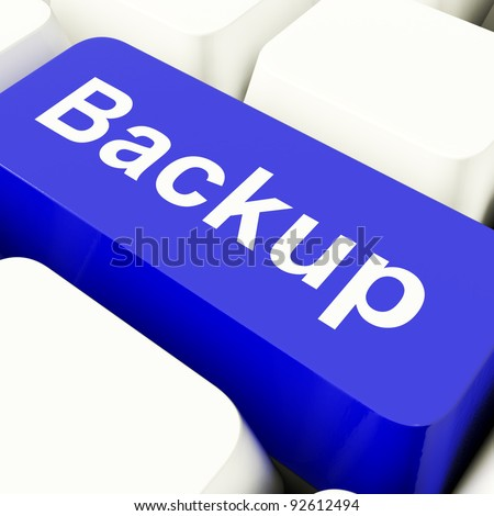 Backup Computer Key In Blue For Archiving And Data Storage