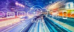 Backup concept with abstract high speed technology POV motion blur