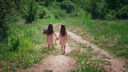 Backwards view of little identical twin sisters with long hair walking together holding hands at road among field in dresses at sunny nature in grass and flowers. Girls friendship and youth concept.