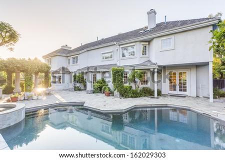 Backyard and swimming pool of luxury house