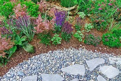 Backyard Garden Modern Designed Landscaping. Decorative Garden Design. Back Yard Lawn And Natural Mulched Border Between Grass, Plants And Pebble, Gravel Or Stone Walk Path.