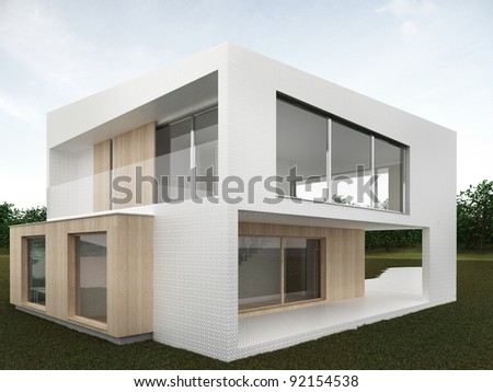 backyard of modern house - computer generated visualization. Mosaic and wood facade in european style of architecture.