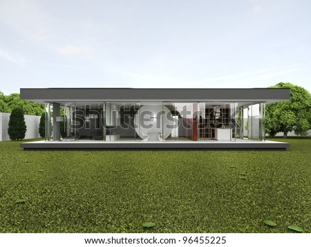 Backyard of very modern house - bungalow design, architecture project