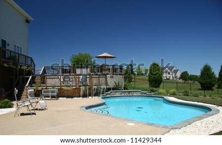 Backyard Pool in summer with surrounding multi-level deck
