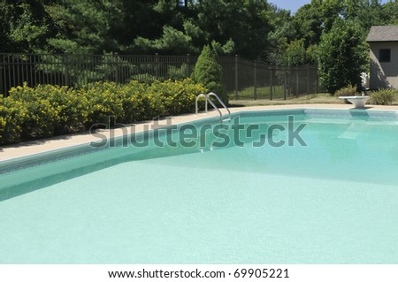 Backyard pool with diving board