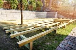 backyard terrace construction - wooden frame for patio deck
