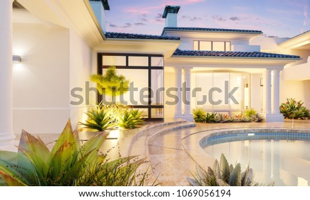 Backyard with a pool in an expensive mansion. Private villa. Mansion residence. 3d illustration