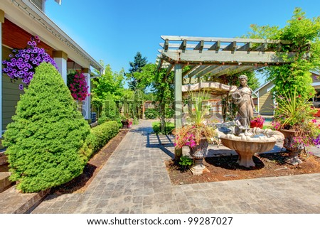 Backyard with outdoor living room and green trees.