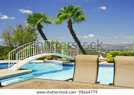 Backyard With Swimming Pool And Little Bridge Surrounded By Palm Trees Stock Photo 98664779